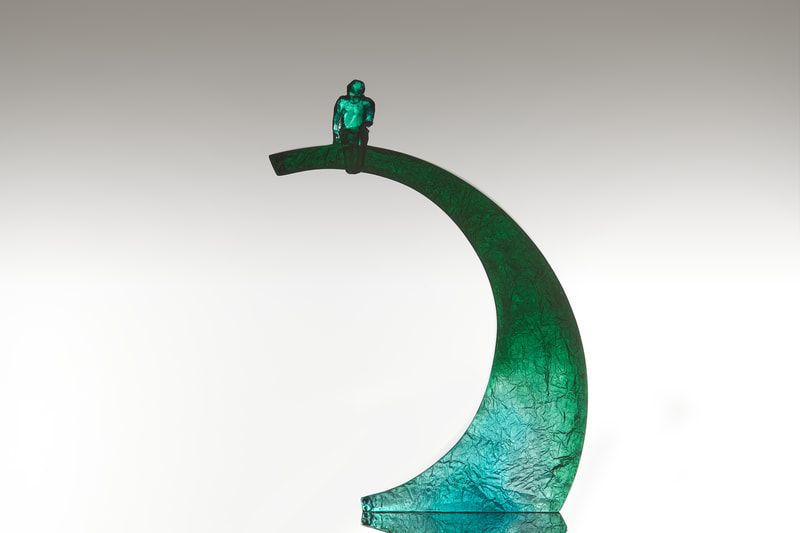 "Di Tocker, ""Cusp 6- Green Aqua Mix"", Cast Glass, 250 x 380 x 70mm, 2021"