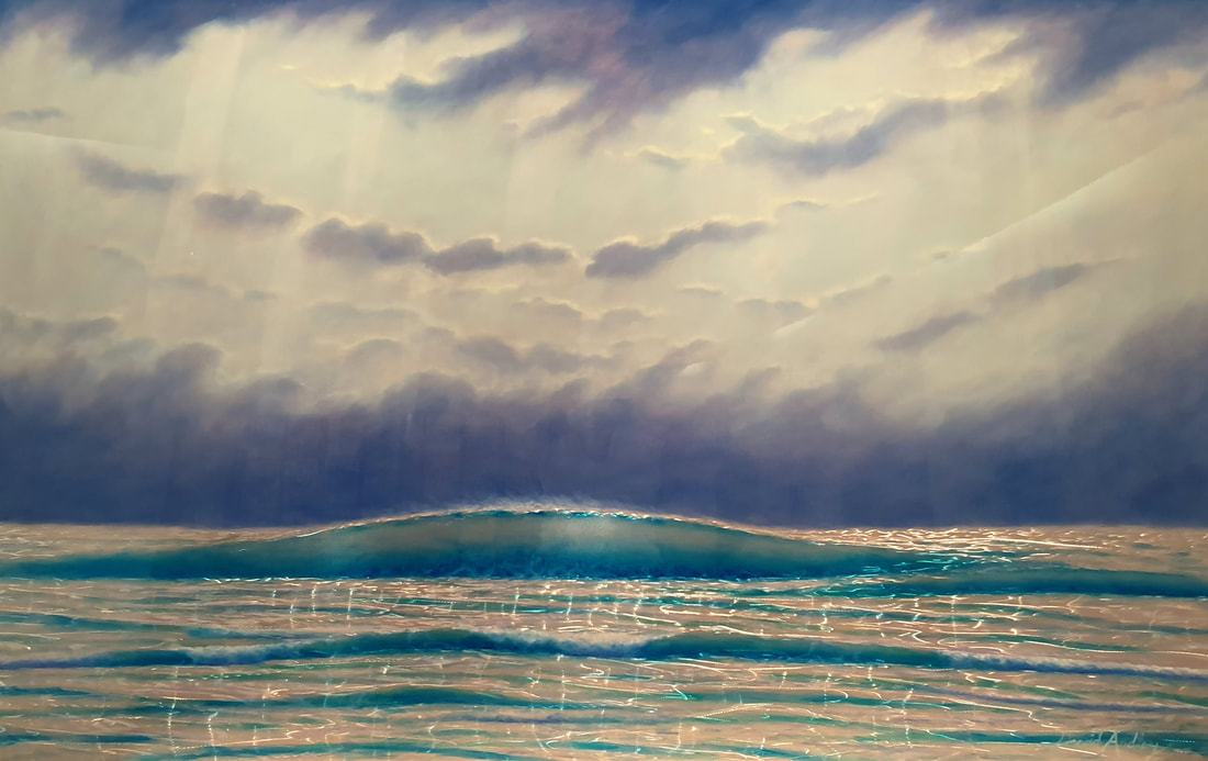 "David Ardley, ""Clearing Storm"", Mussini Resin Oil on Aluminium, 2019, Water Painting"