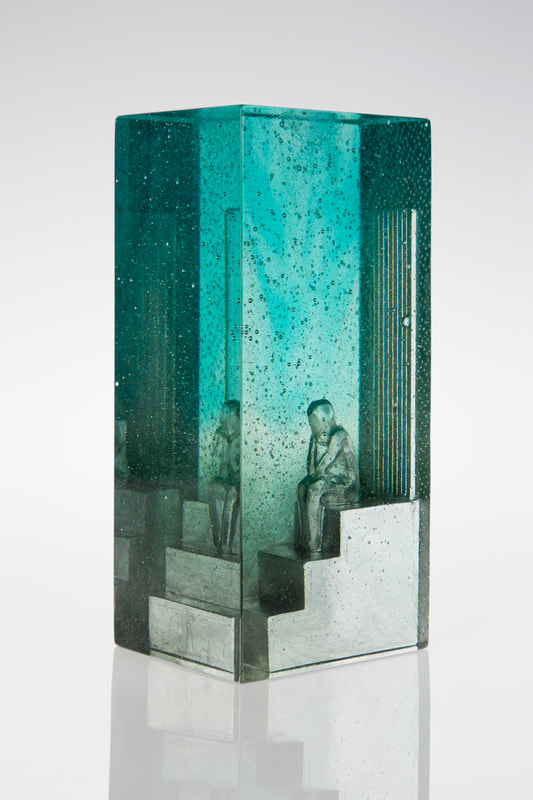 "Di Tocker, ""Calton Hill (Front Steps)"", Cast Glass, 130 W x 110 D x 285mm H, 2020"