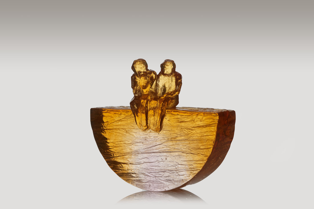 "Di Tocker, ""Team of Two"", Cast Glass, 170 W x 150 H x 40mm D, 2020"