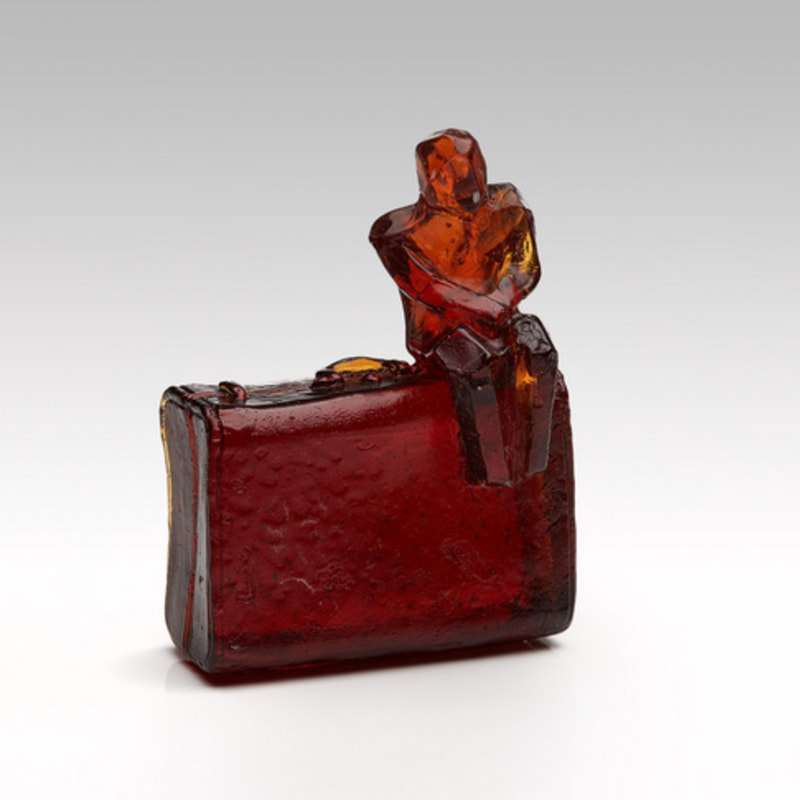 "Di Tocker, ""Traveller (Orange/Red)"", Handcrafted Lead Crystal Glass, H122 x W90 x D55mm, 2021"