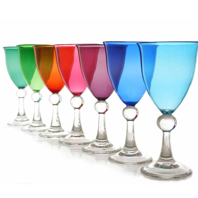 "Hoglund Art Glass, ""Wine Goblets"", Hand Blown Glass, Various Colours Available, Set of 8 for $760, Set of 6 for $570, Available"