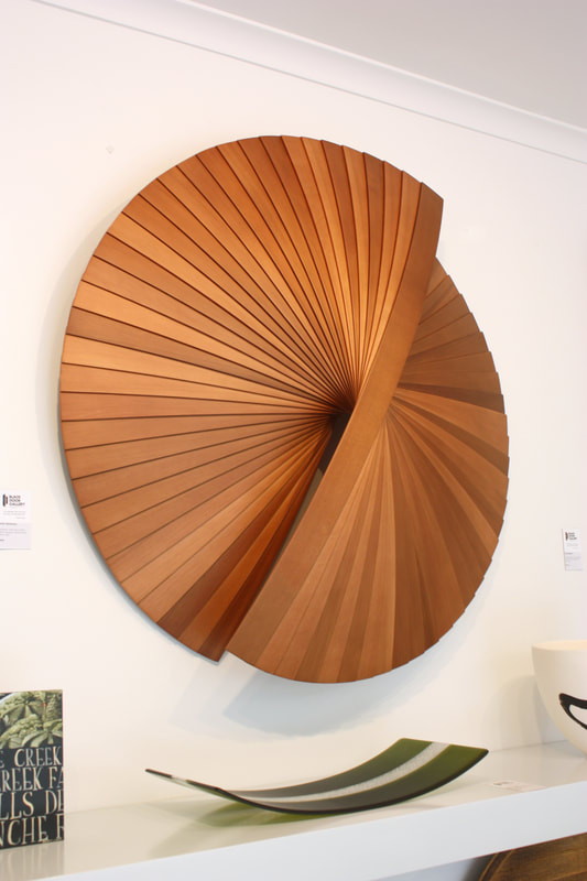 "Jamie Adamson Artwork- ""Unfolding"", Wooden Wall Sculpture, 1000mm Diameter, 200mm Depth off Wall, 2020,"