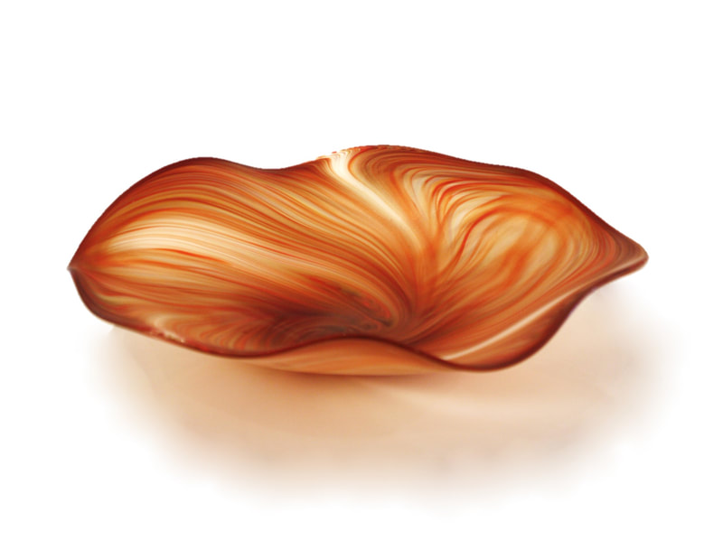 "Justin Culina, ""Red Feather Platter (Frosted)"", Hand Blown Glass, 420mm Diameter, 2020"