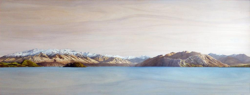 "Ben Timmins, ""Lake Wanaka"", Oil on Kauri, 2300 x 900 mm, SOLD"