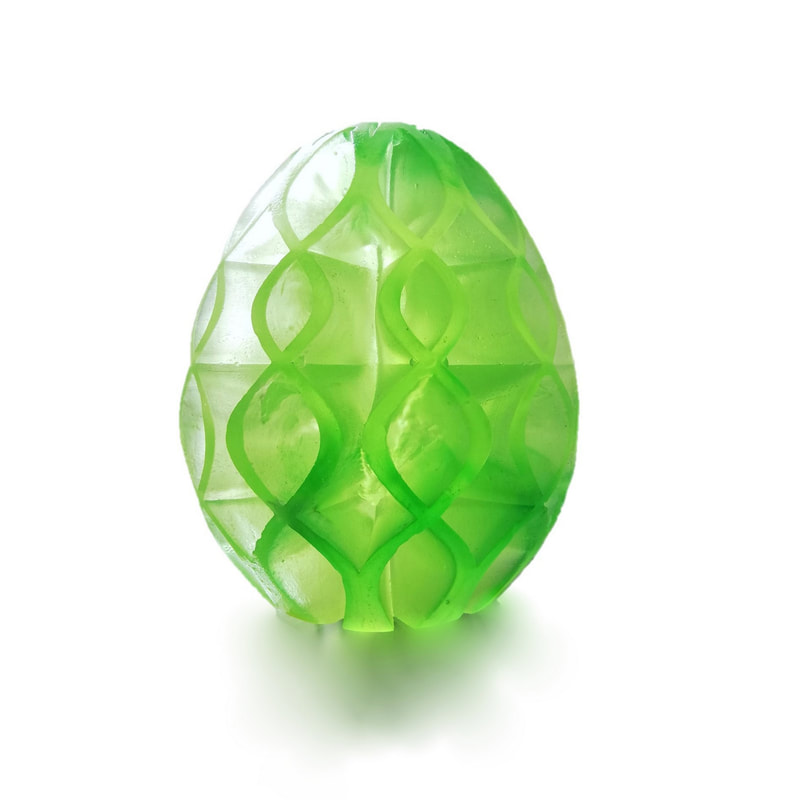 "Lee Howes, ""Egg"", Cast Glass with weave design, 2021"