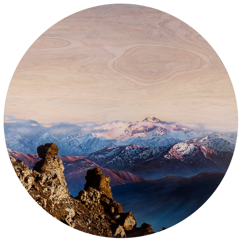 "Ben Timmins, ""Mt Aspring"", Oil on Kaudamu, 1500mm Diameter,"