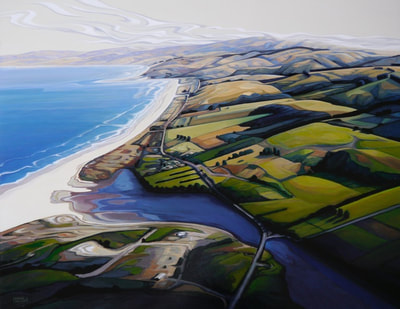 "Maria Kemp, ""Overview, Saddle Hill to Taieri Mouth"", Oil on Board, 980 x 780mm, SOLD"