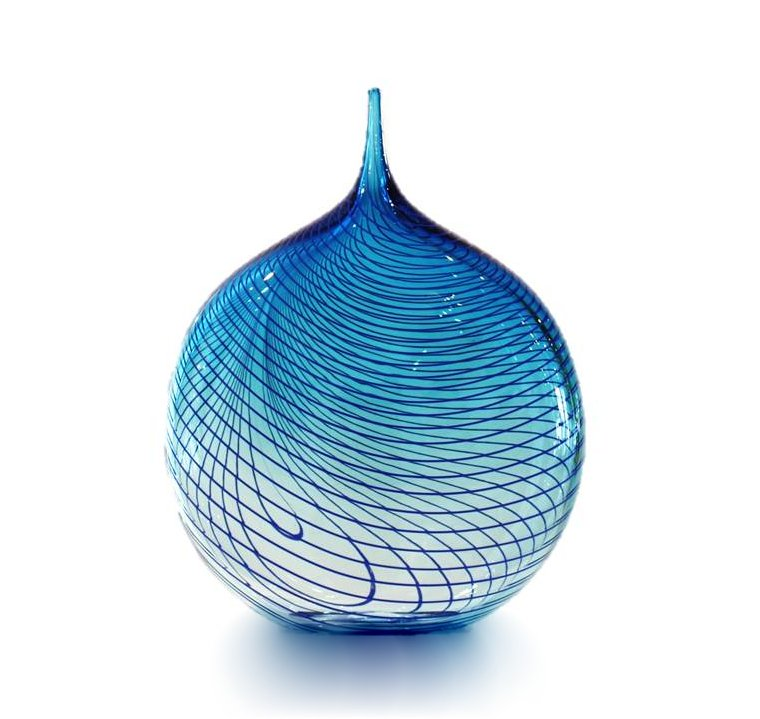 "Katie Brown, ""Blue Applique with dark blue trails"", Hand Blown Glass, 270 x 210 mm, 2018"