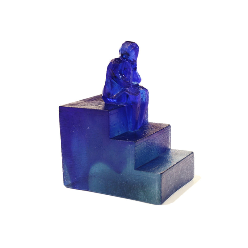"Di Tocker- ""Reflection- on the steps"", Cast Glass, 140mm height, 2019, SOLD"