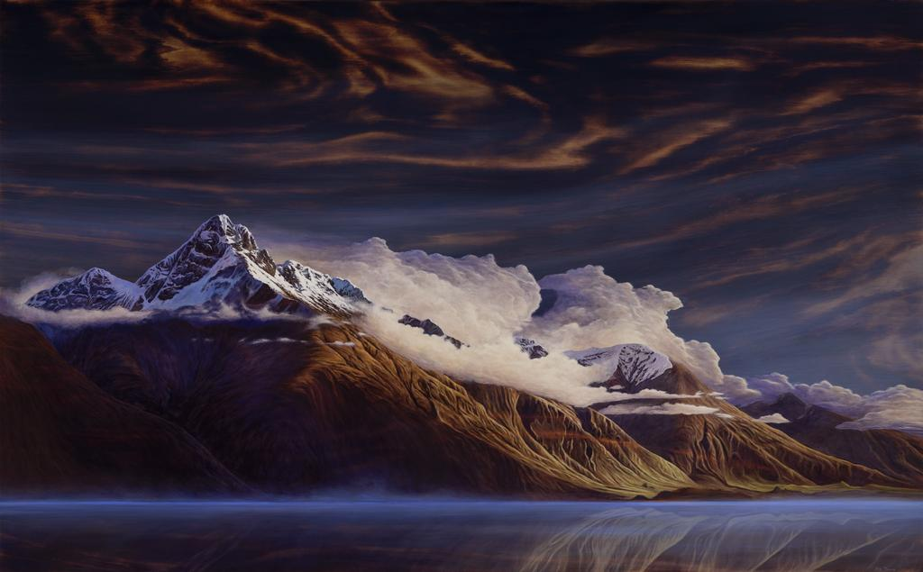 "Ben Timmins, ""Walter Peak"", Oil on Kauri, 1420 x 800mm, SOLD"